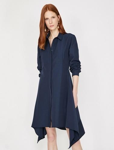 Koton Klasik Yaka Elbise Lacivert